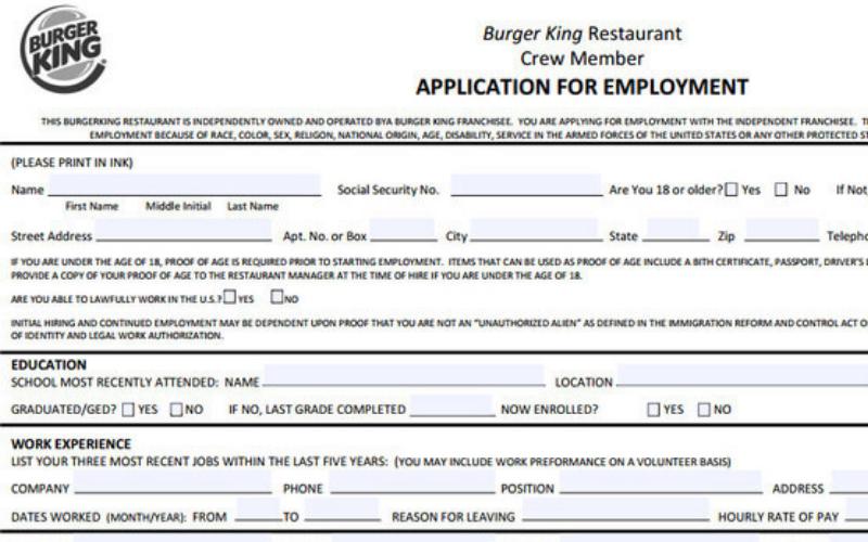 does burger king hire the felon