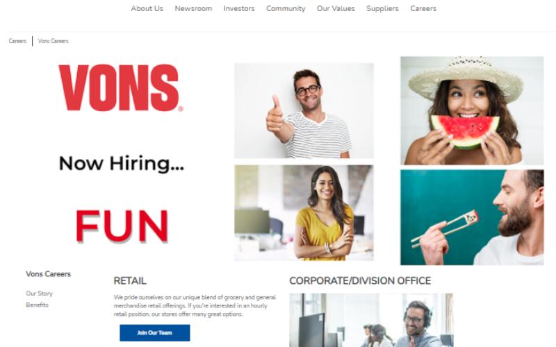 Vons job application process