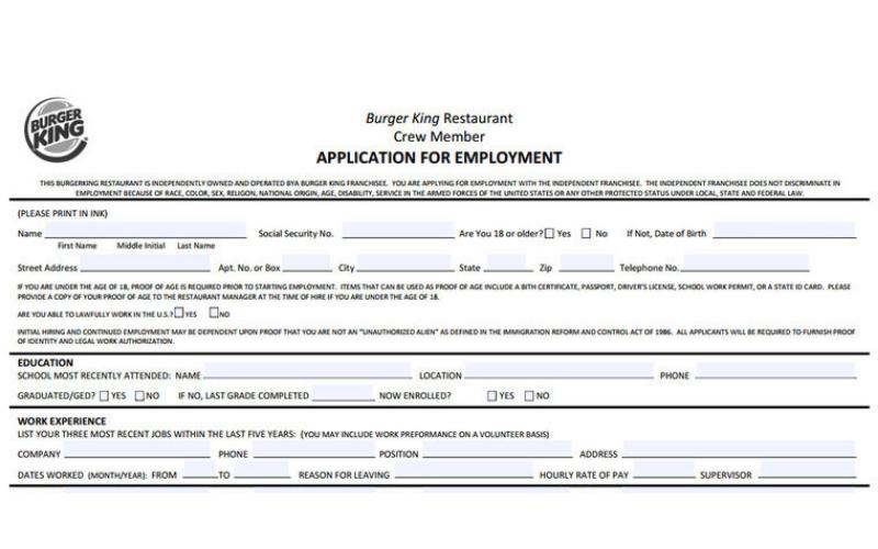 burger king application tips