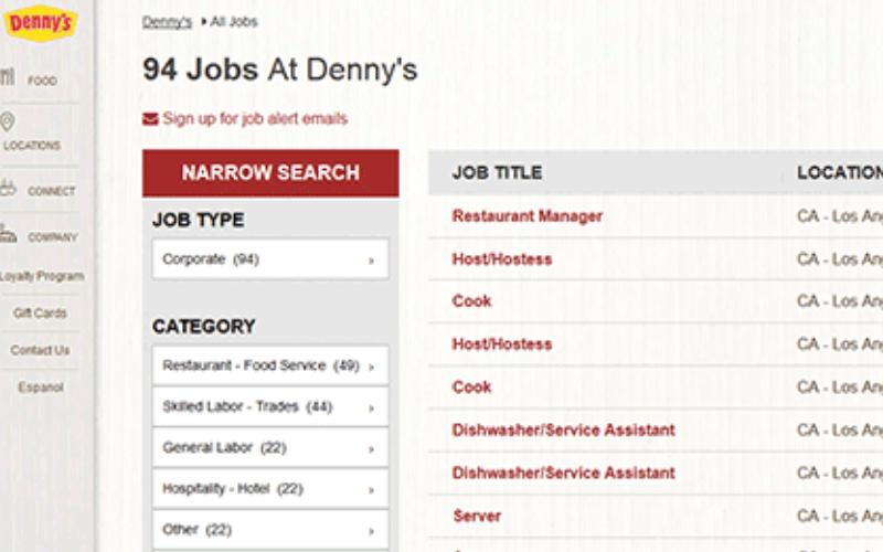 dennys application guide