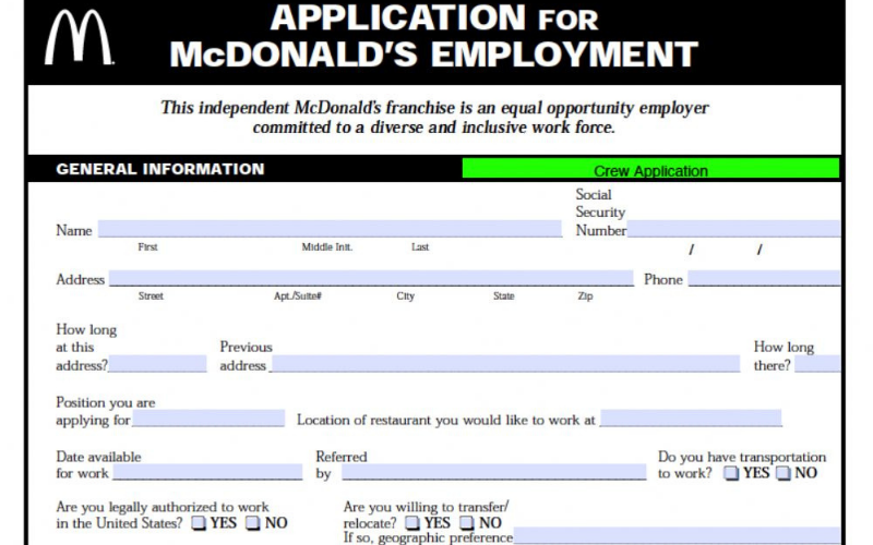 the mcdonalds application guide