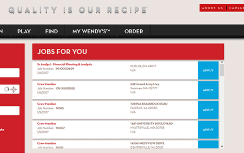 wendys application guide