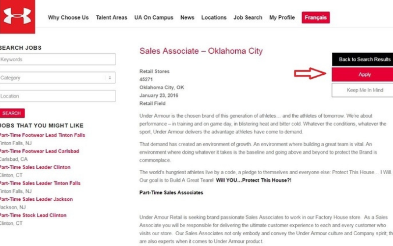the under armour application
