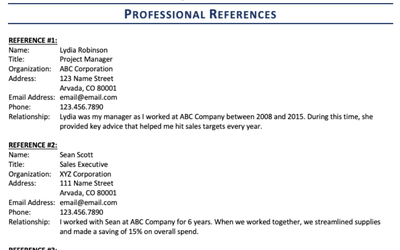 how to list references on the resume