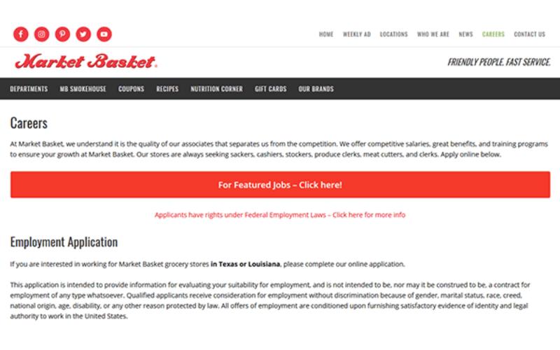 the market basket application tips