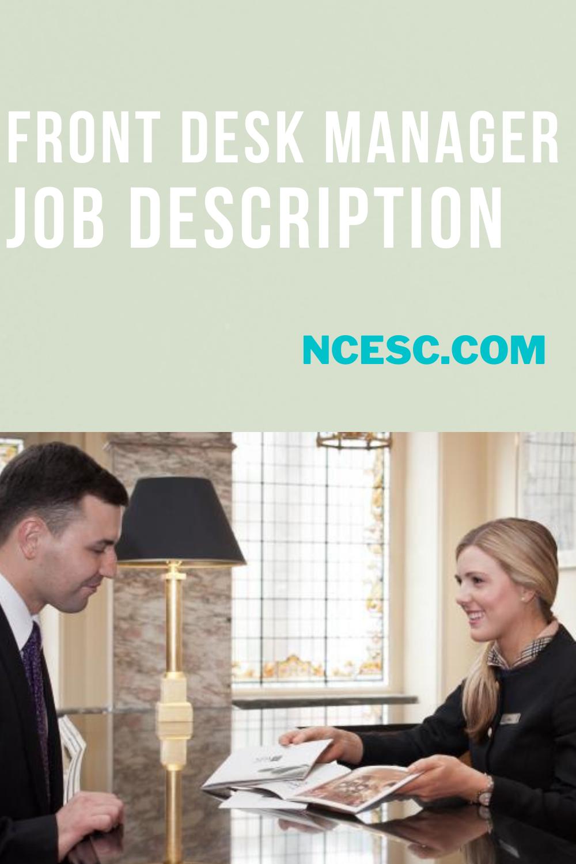 front desk manager job description