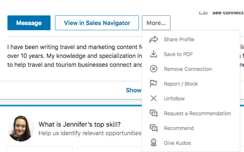 linkedin recommendation example