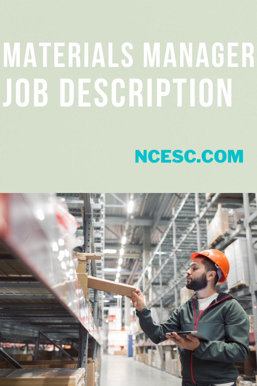 materials manager job description